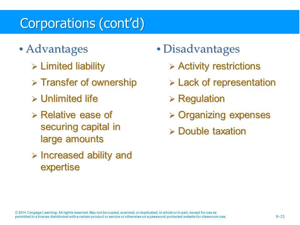 Corporations (cont'd)