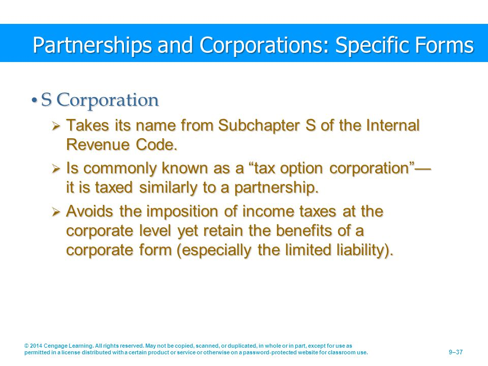 Partnerships and Corporations: Specific Forms