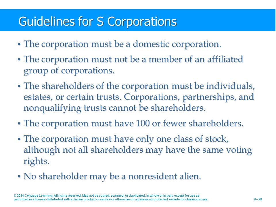 Guidelines for S Corporations