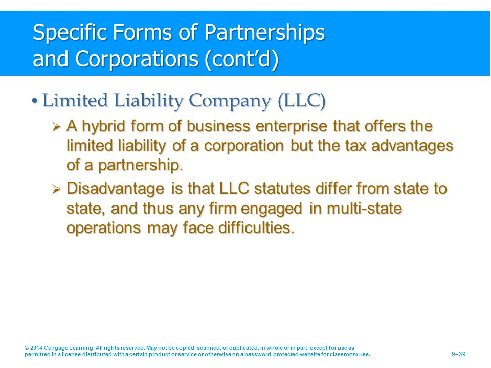 Specific Forms of Partnerships and Corporations (cont'd)