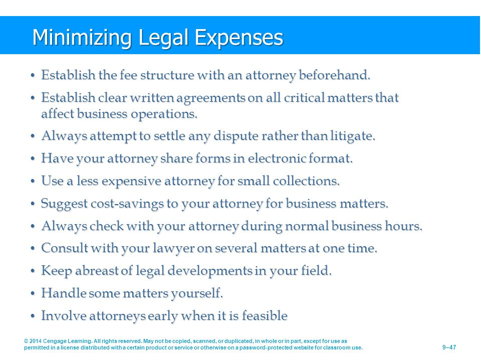 Minimizing Legal Expenses