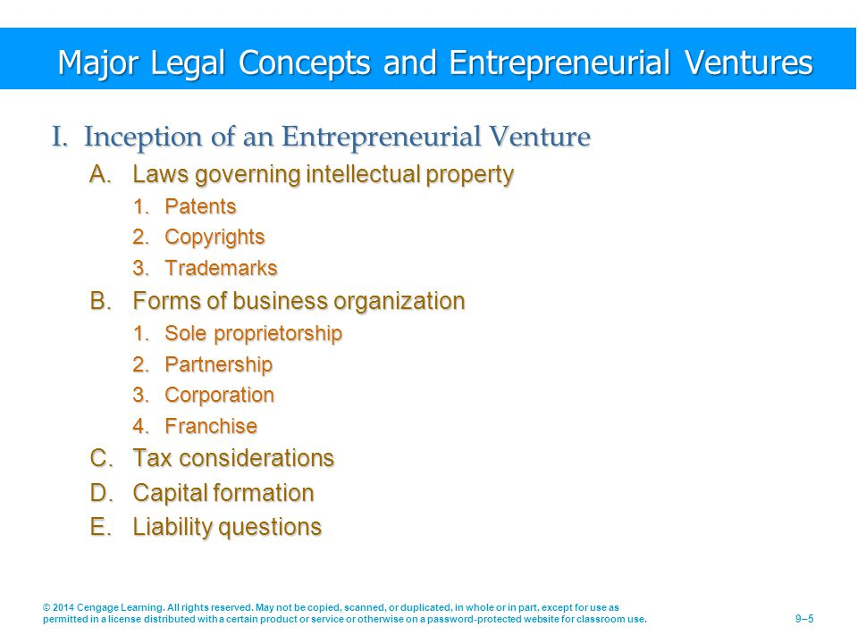 Major Legal Concepts and Entrepreneurial Ventures