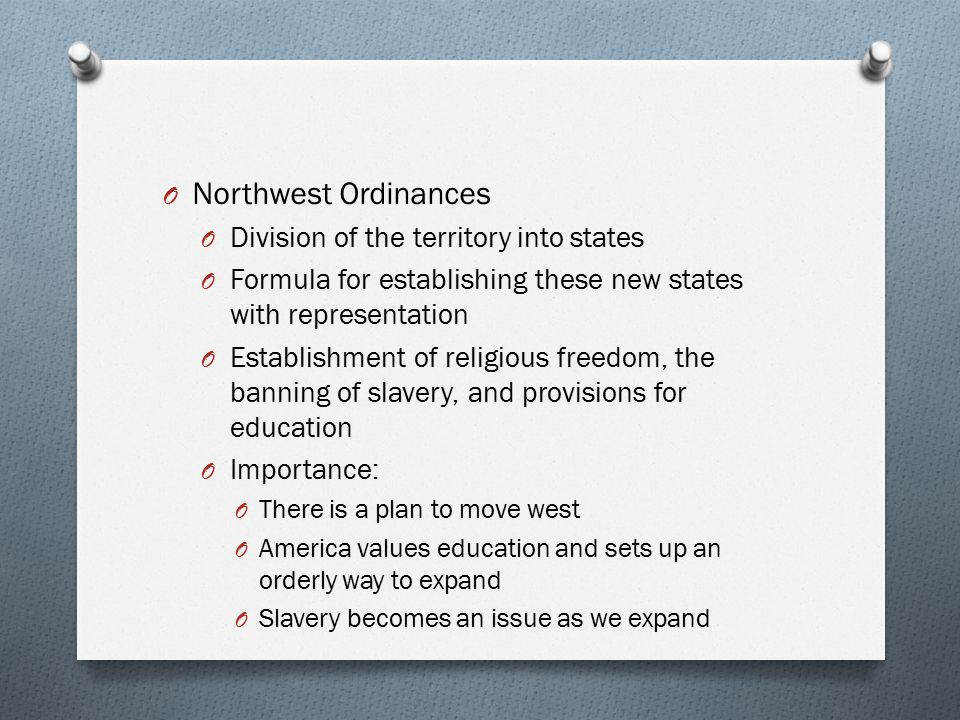 Northwest Ordinances Division of the territory into states