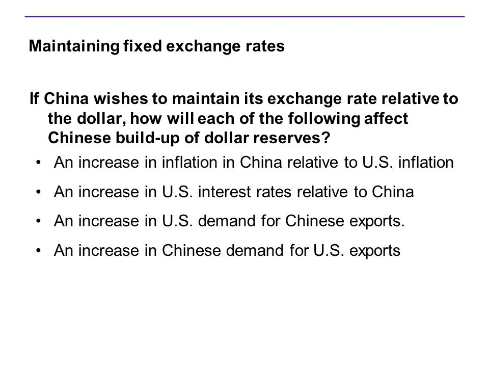 Maintaining fixed exchange rates