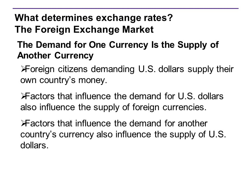 What determines exchange rates The Foreign Exchange Market
