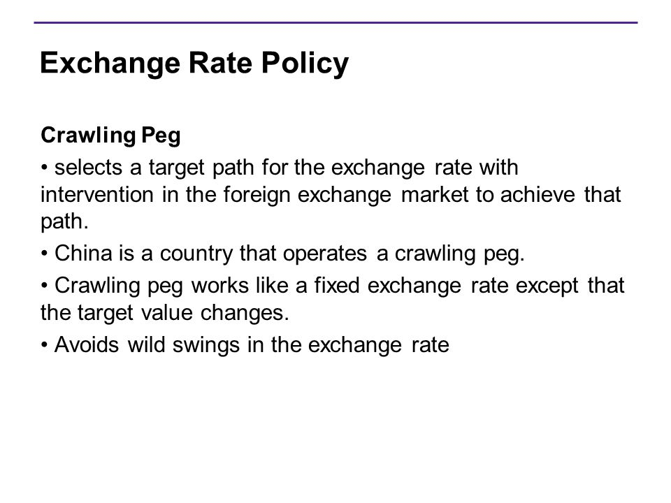 Exchange Rate Policy Crawling Peg