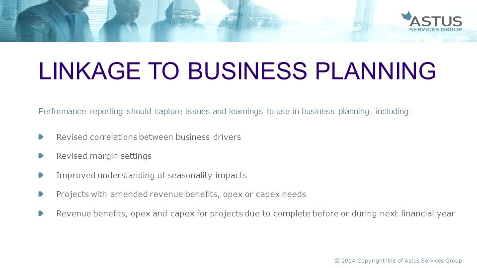 Linkage to business planning