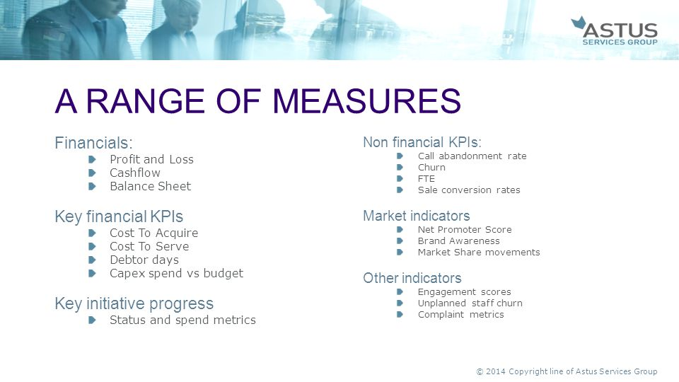 A range of measures Financials: Key financial KPIs