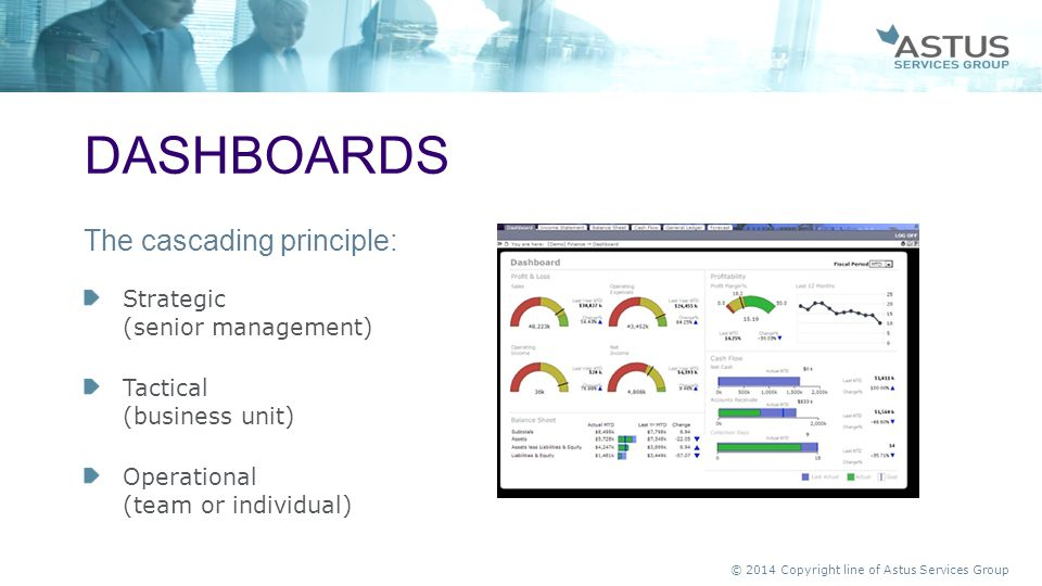 dashboards The cascading principle: Strategic (senior management)