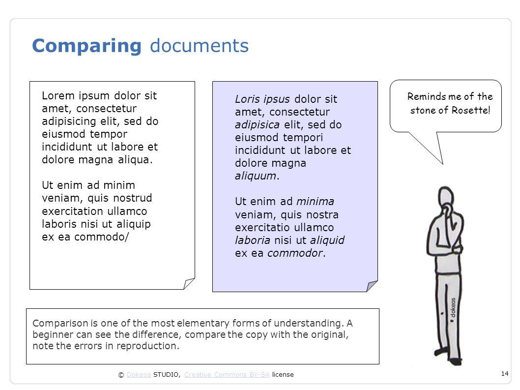Comparing documents Lorem ipsum dolor sit amet, consectetur adipisicing elit, sed do eiusmod tempor incididunt ut labore et dolore magna aliqua.