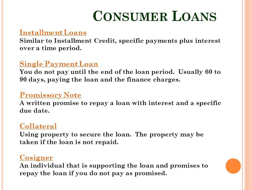 Consumer Loans Installment Loans Single Payment Loan Promissory Note