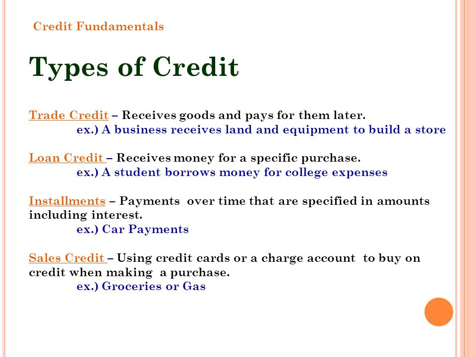 Types of Credit Credit Fundamentals