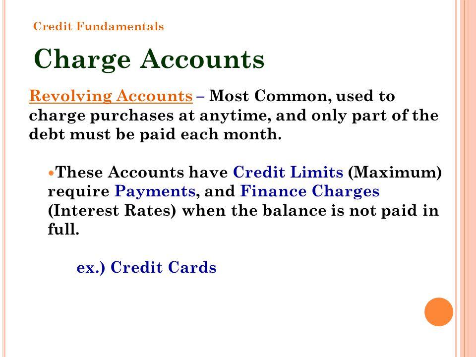 Credit Fundamentals Charge Accounts.