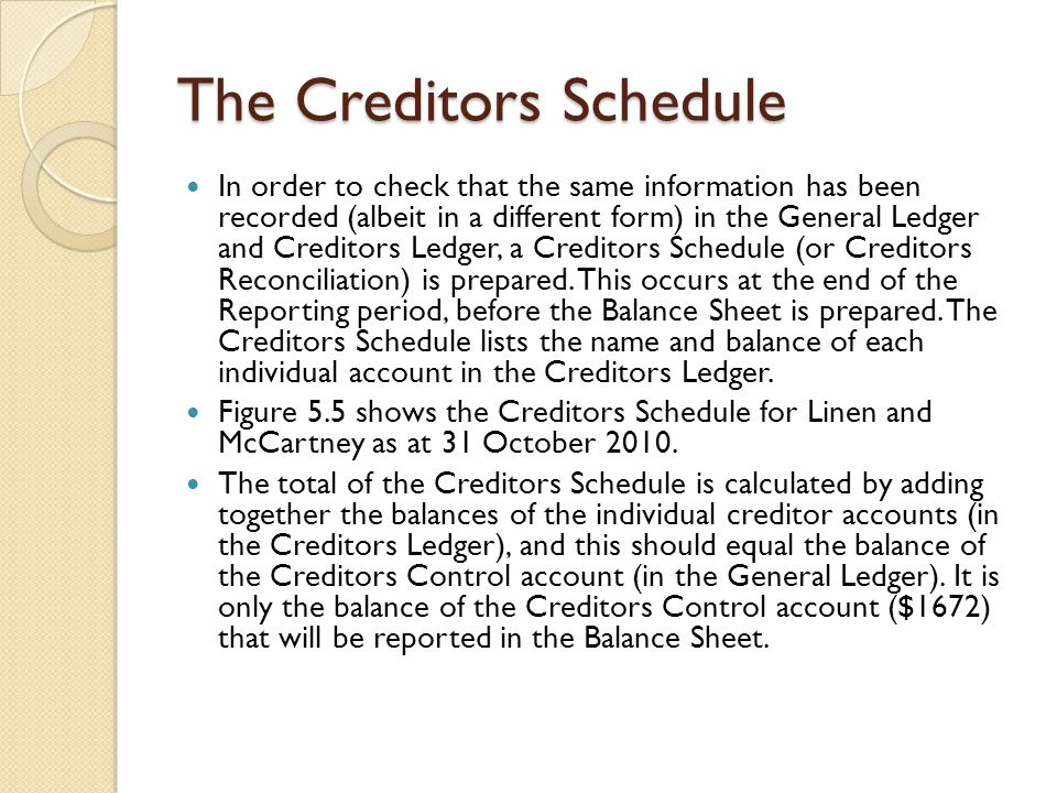 The Creditors Schedule