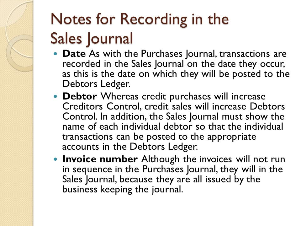 Notes for Recording in the Sales Journal