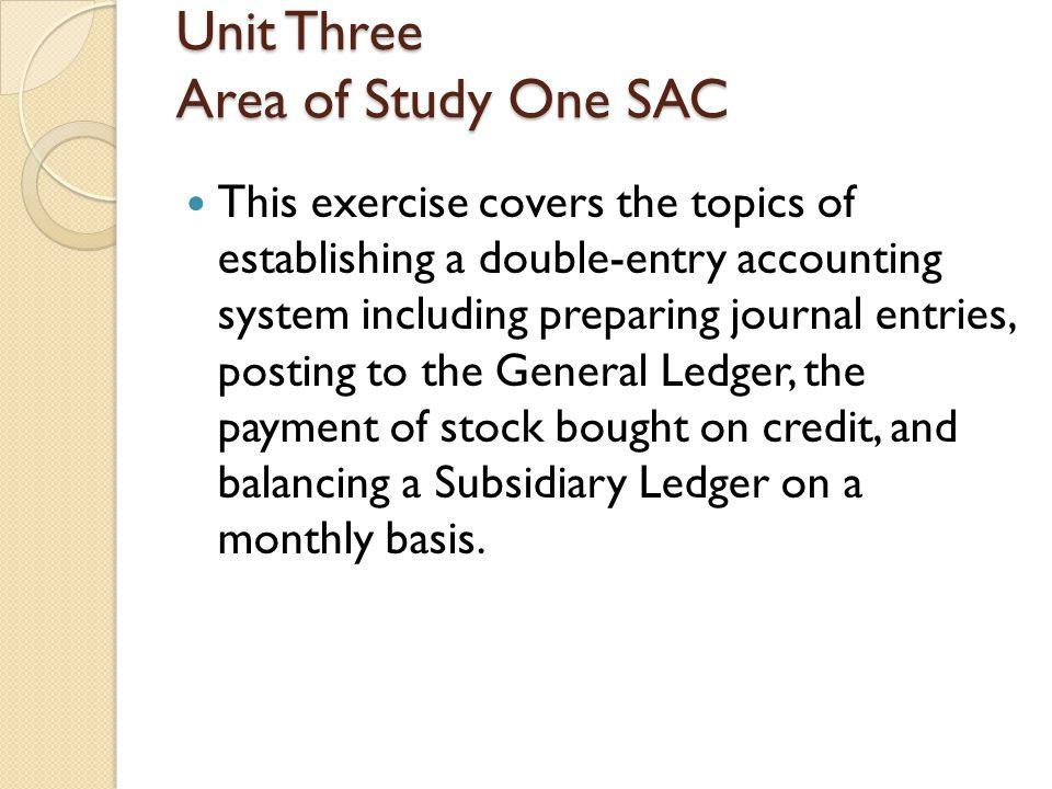 Unit Three Area of Study One SAC