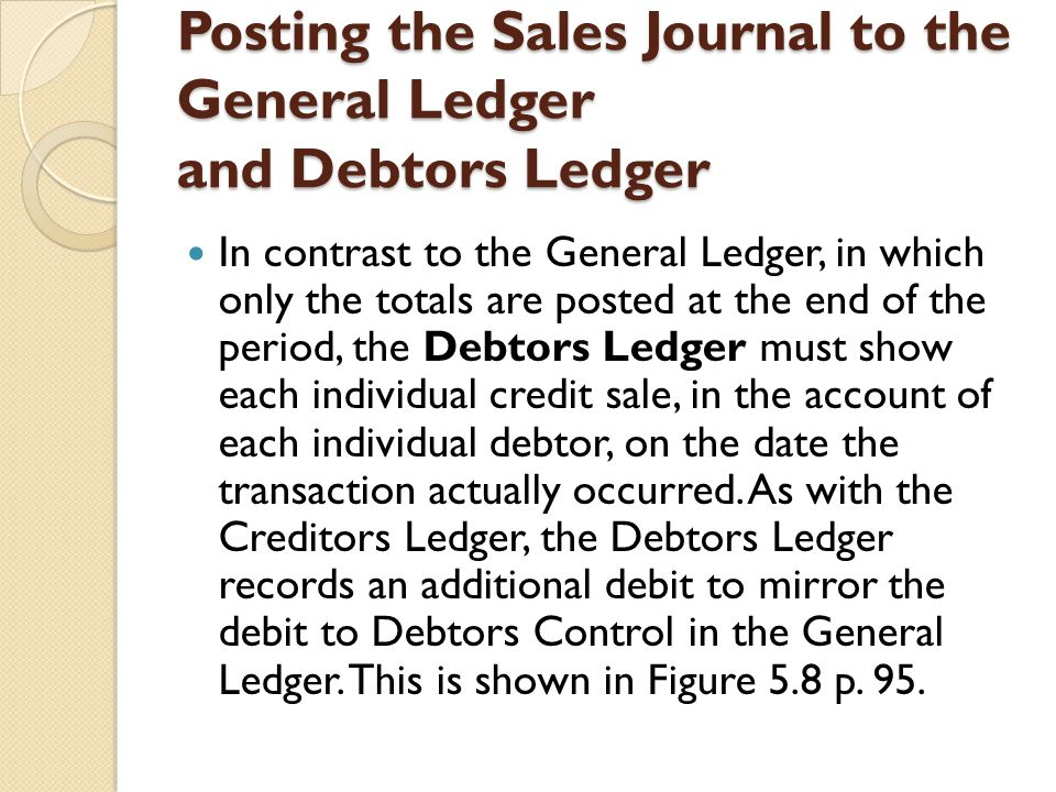 Posting the Sales Journal to the General Ledger and Debtors Ledger