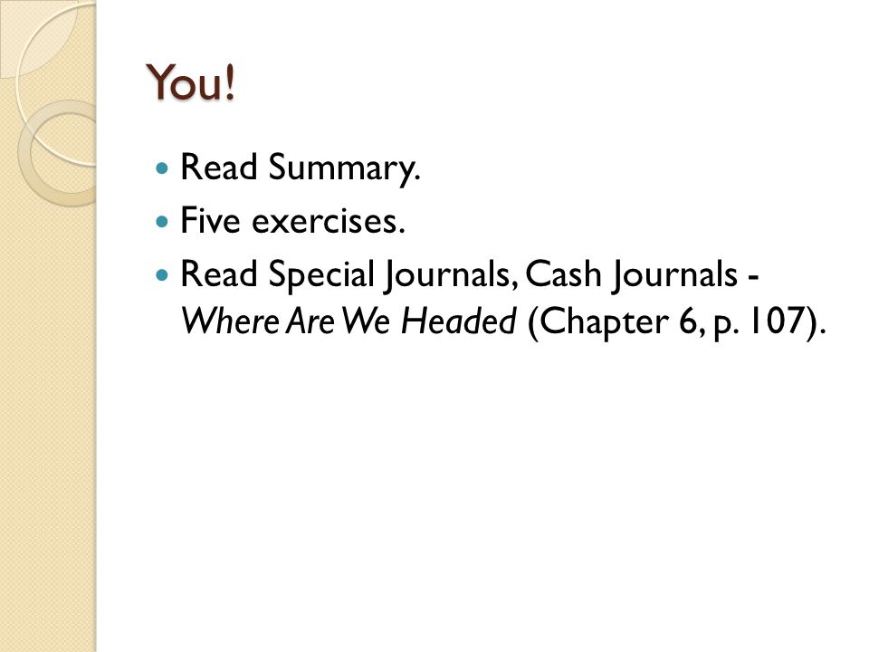 You! Read Summary. Five exercises.
