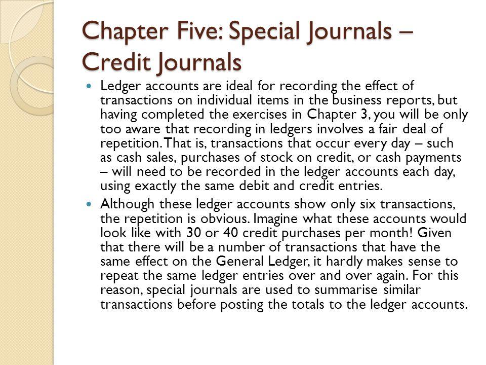 Chapter Five: Special Journals – Credit Journals