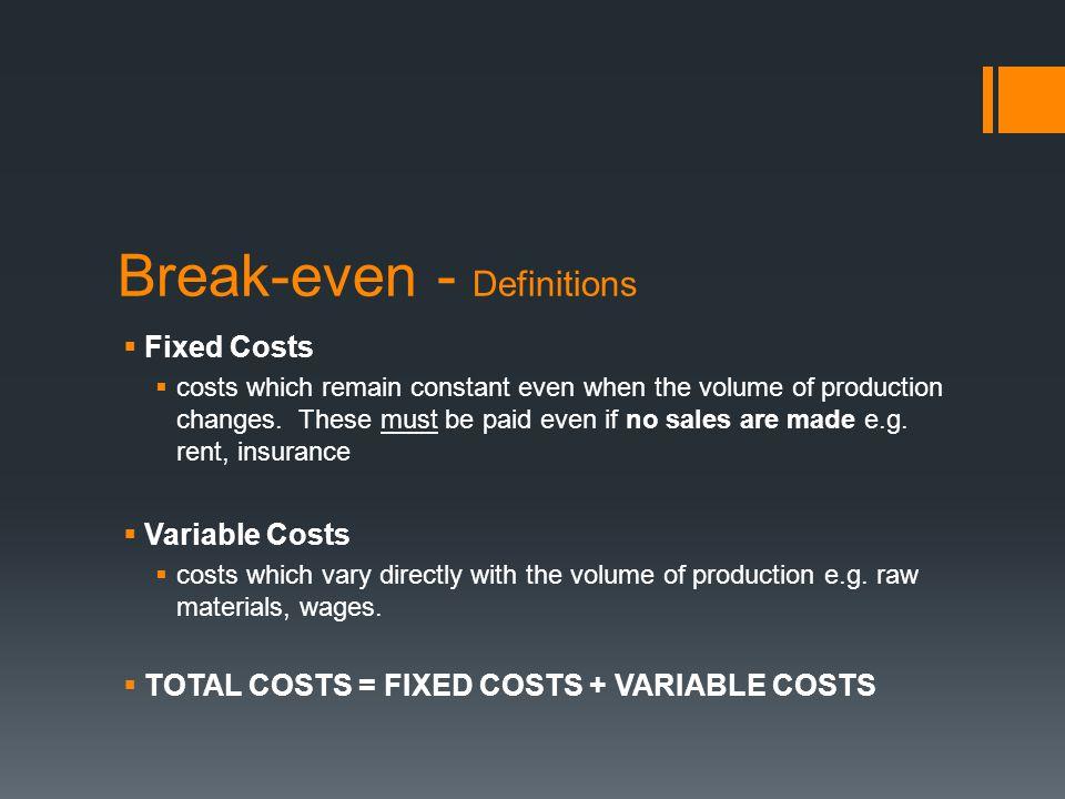 Break-even - Definitions
