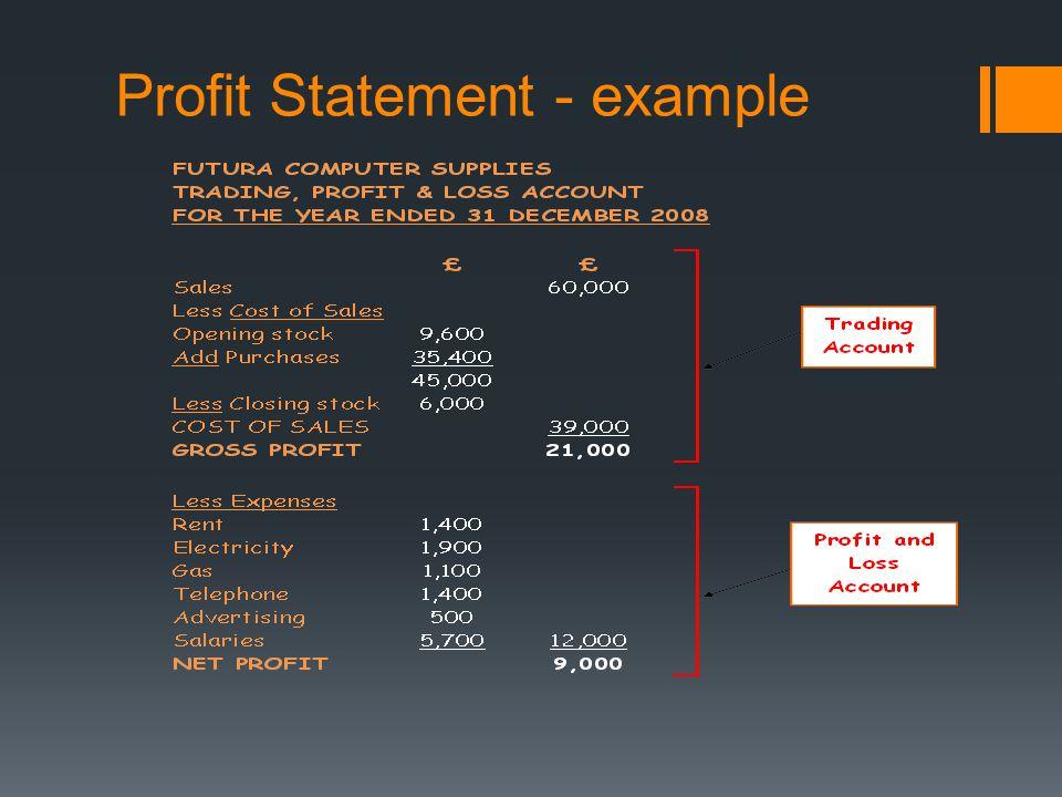Profit Statement - example