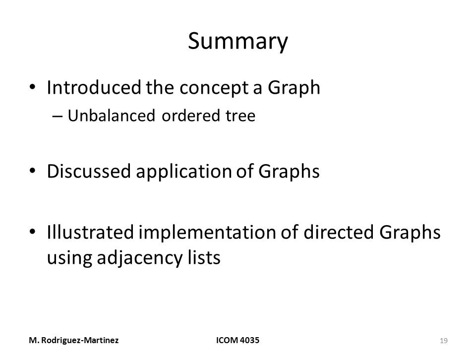 Summary Introduced the concept a Graph Discussed application of Graphs