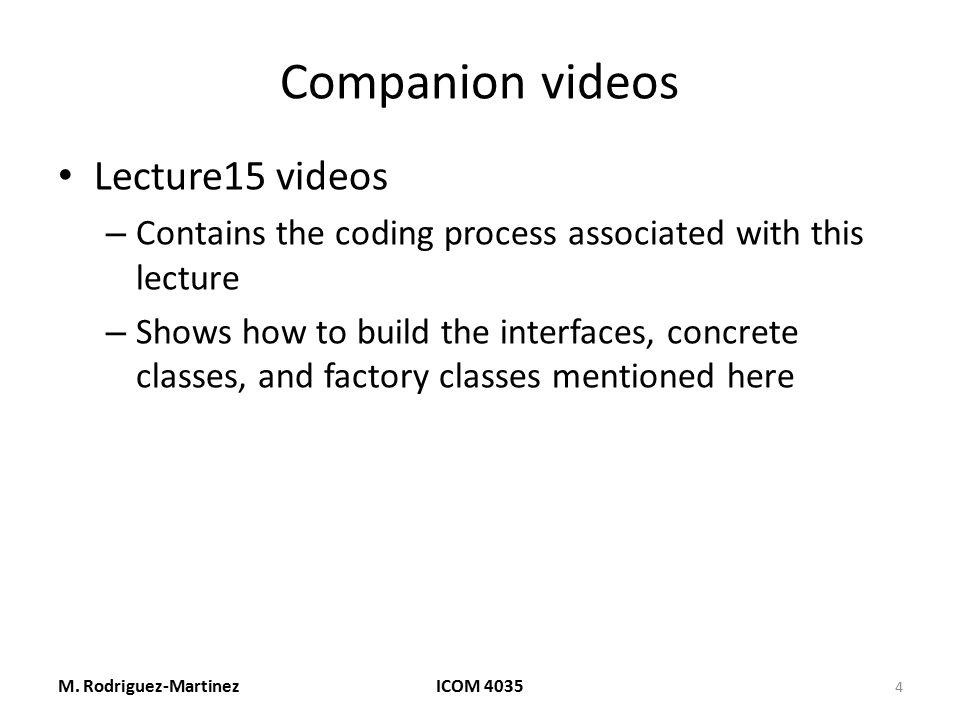 Companion videos Lecture15 videos