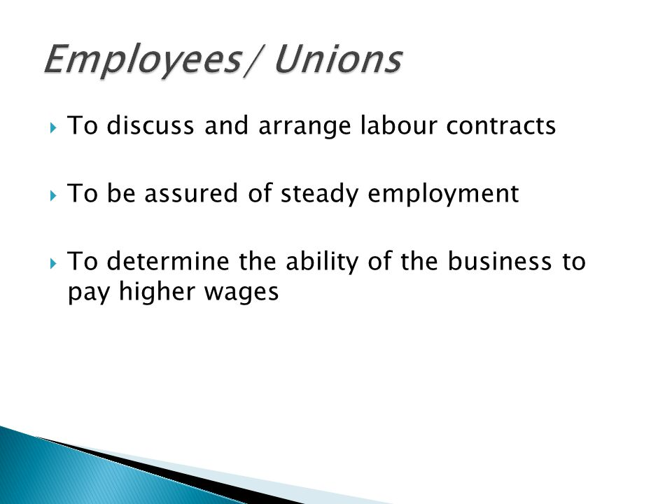 Employees/ Unions To discuss and arrange labour contracts