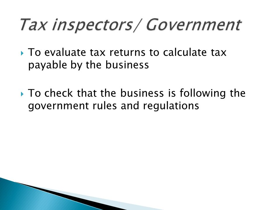 Tax inspectors/ Government