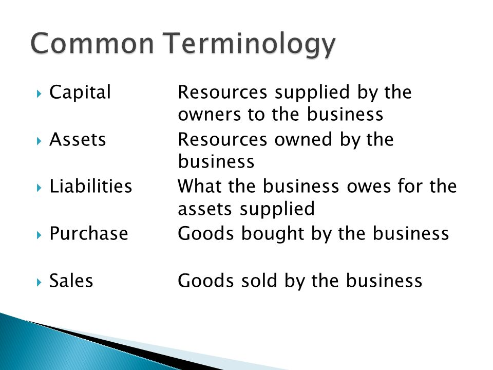 Common Terminology Capital Resources supplied by the owners to the business. Assets Resources owned by the business.