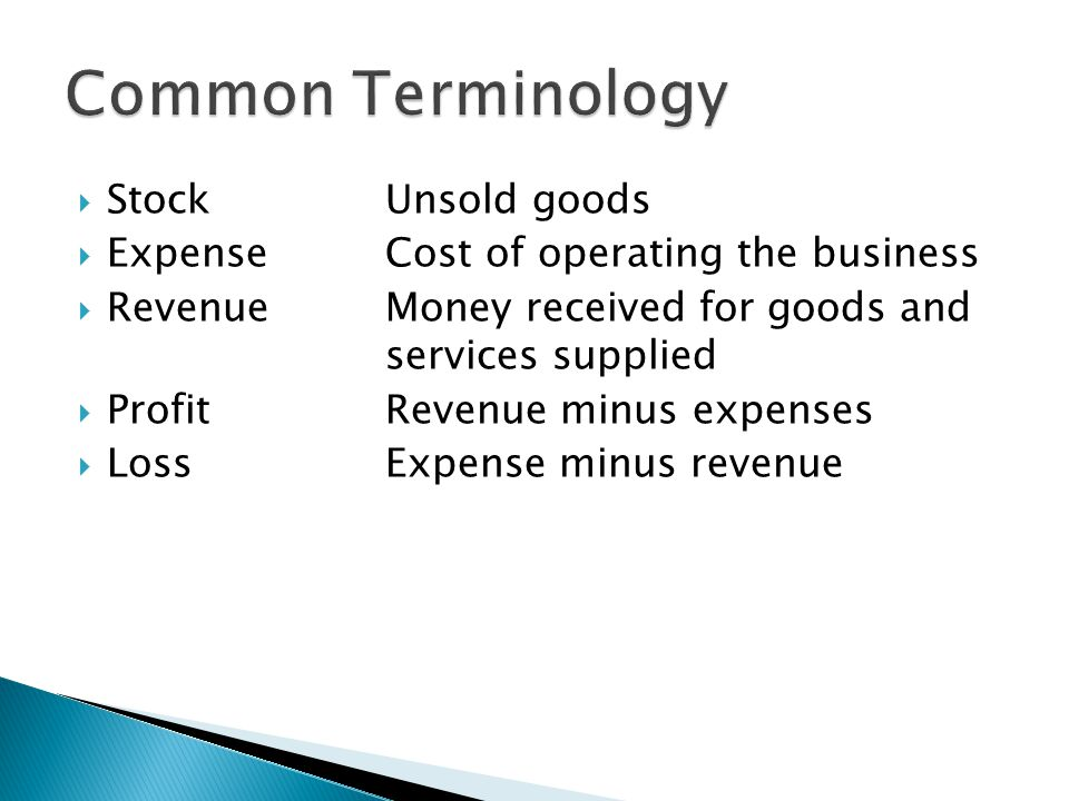 Common Terminology Stock Unsold goods
