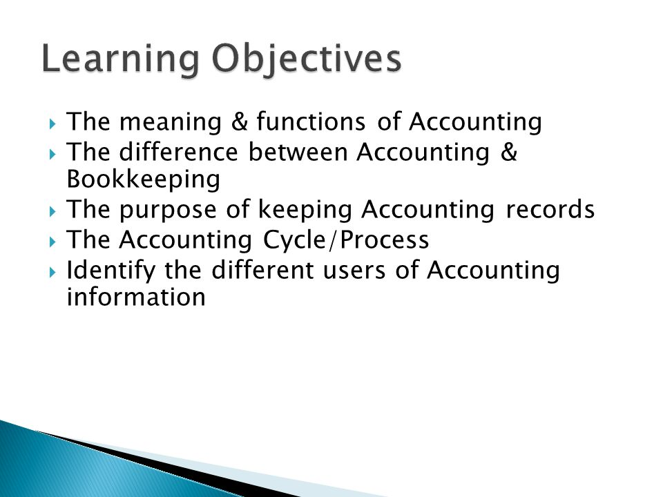 Learning Objectives The meaning & functions of Accounting