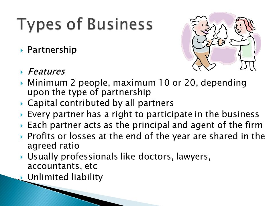 Types of Business Partnership Features