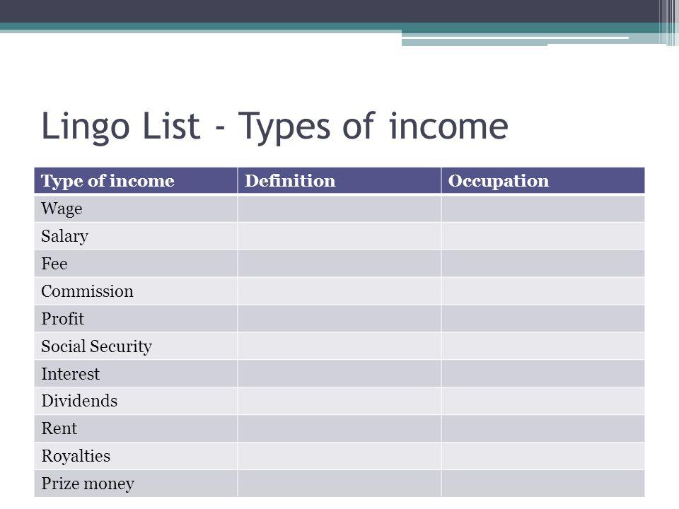 Lingo List - Types of income