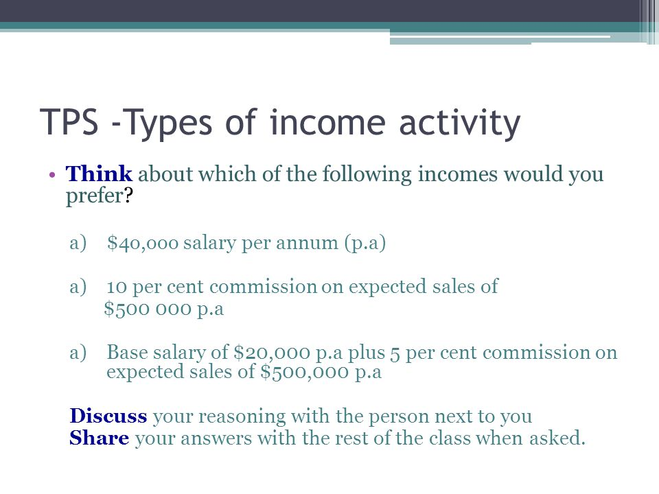 TPS -Types of income activity