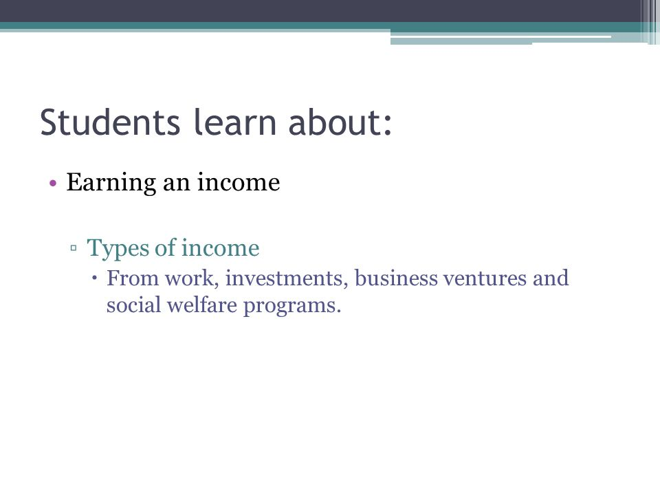 Students learn about: Earning an income Types of income