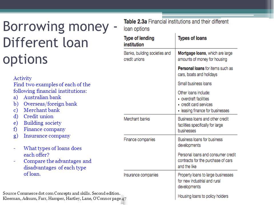 Borrowing money - Different loan options