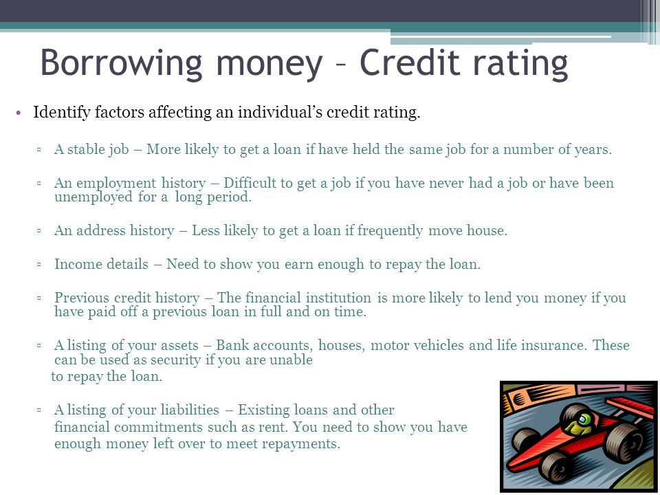 Borrowing money – Credit rating