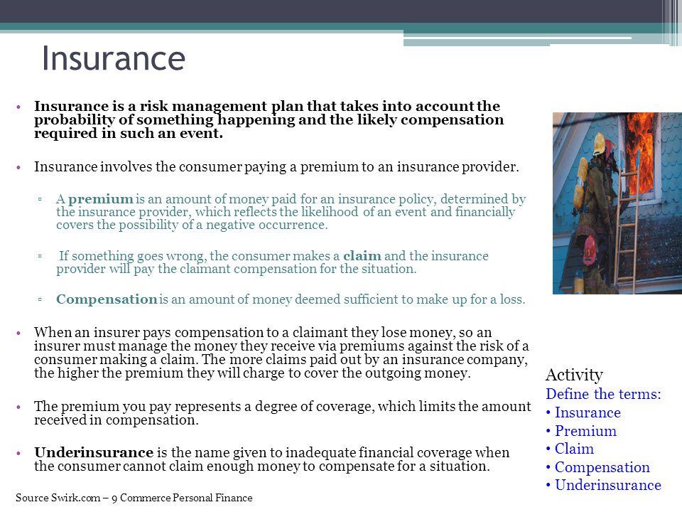 Insurance Activity Define the terms: Insurance Premium Claim