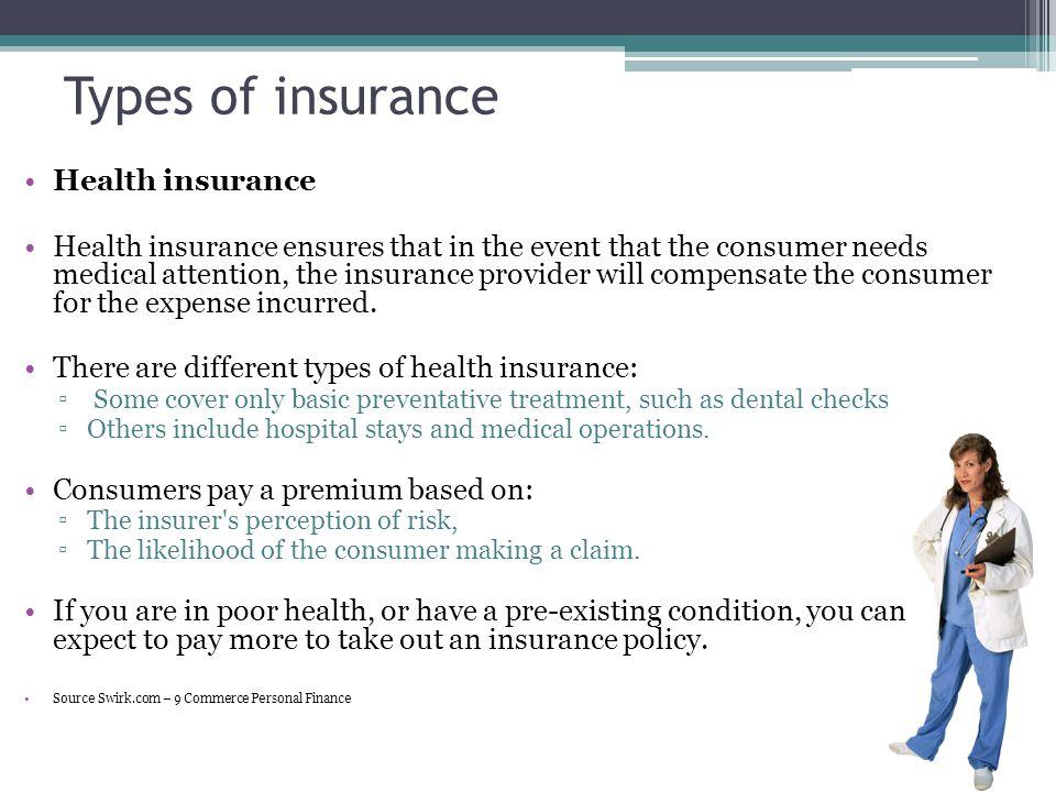 Types of insurance Health insurance