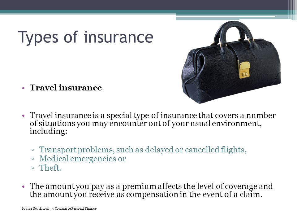 Types of insurance Travel insurance