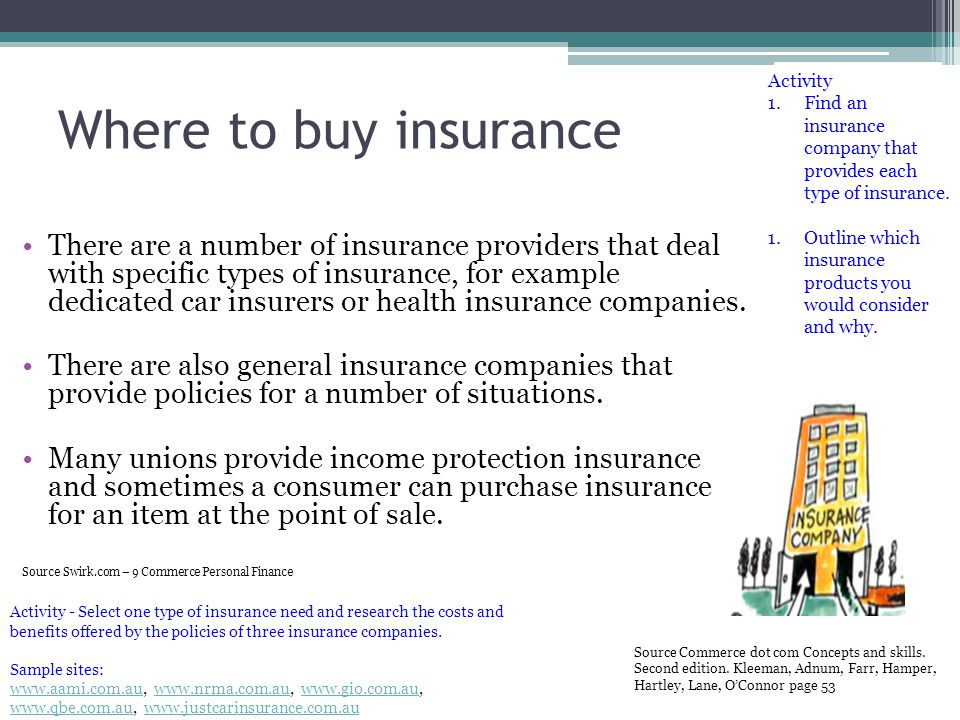 Activity Find an insurance company that provides each type of insurance. Outline which insurance products you would consider and why.