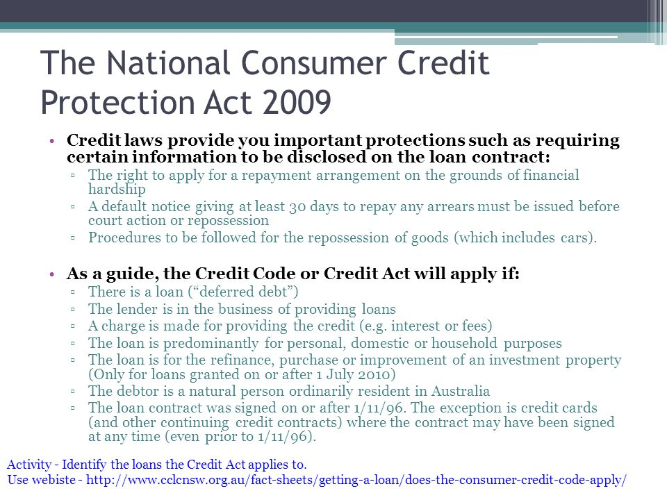 The National Consumer Credit Protection Act 2009