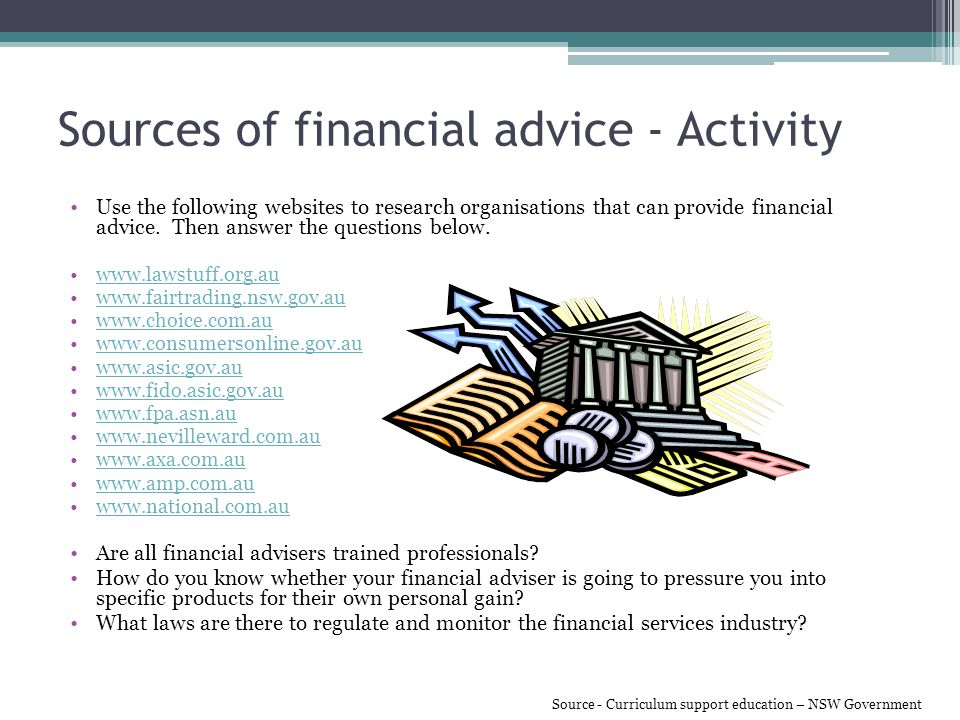 Sources of financial advice - Activity