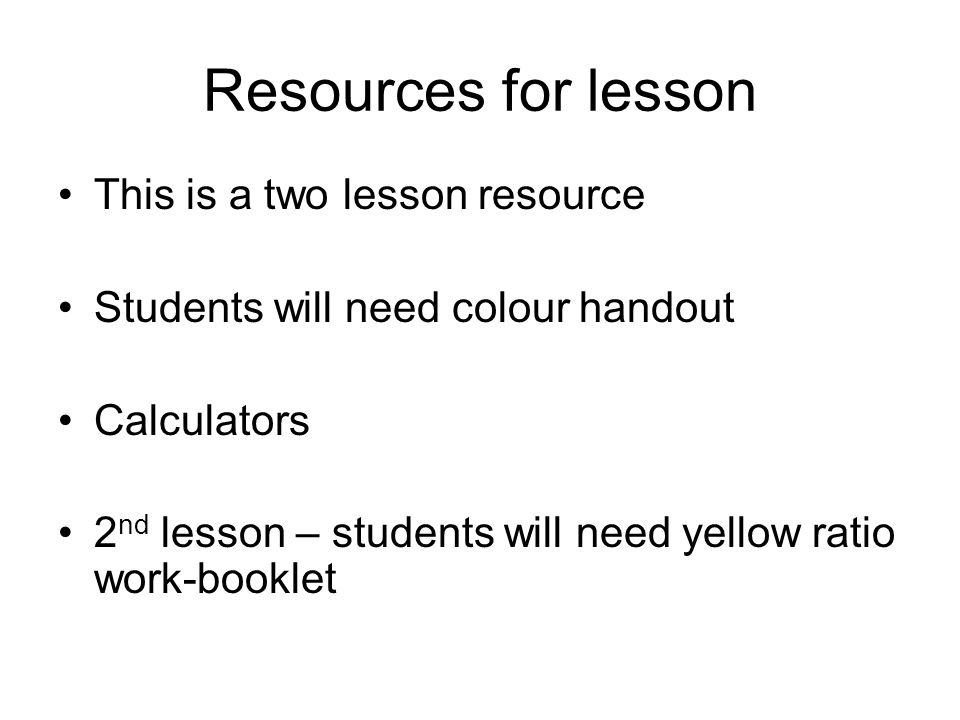 Resources for lesson This is a two lesson resource