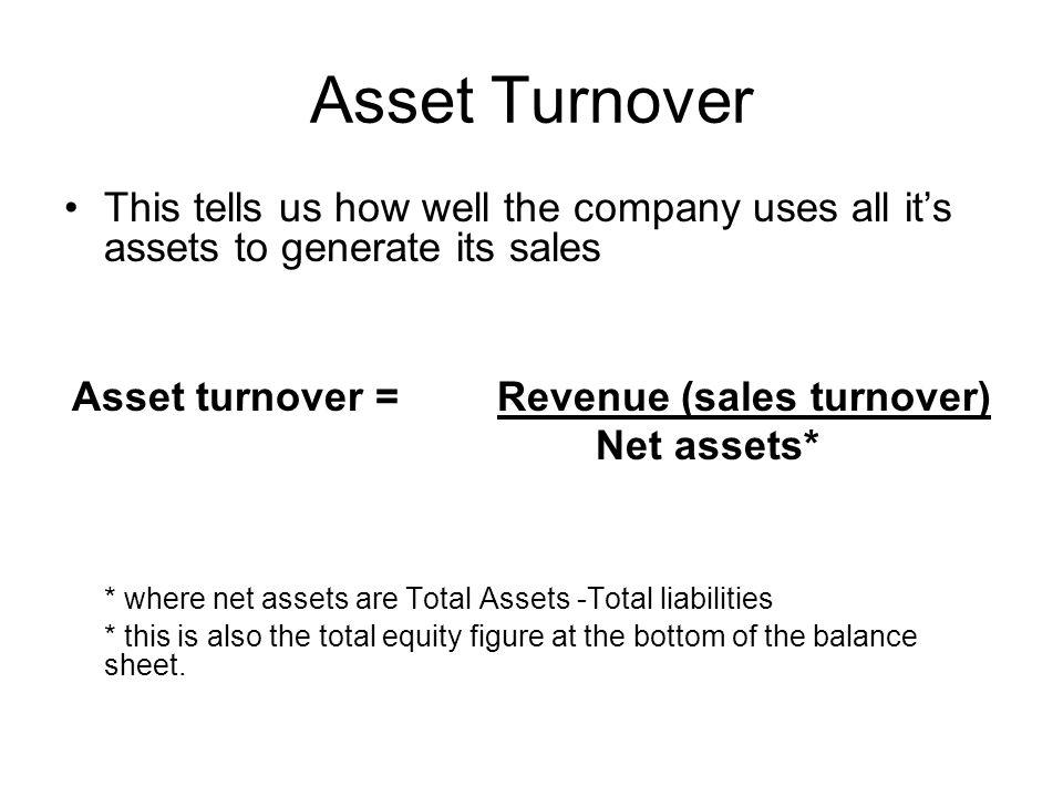 Asset turnover = Revenue (sales turnover)