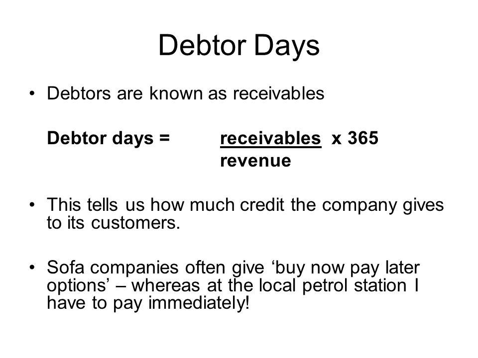 Debtor Days Debtors are known as receivables