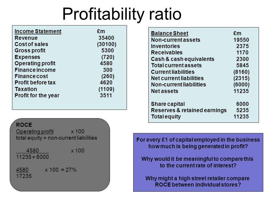 Profitability ratio Income Statement £m Balance Sheet £m Revenue 35400