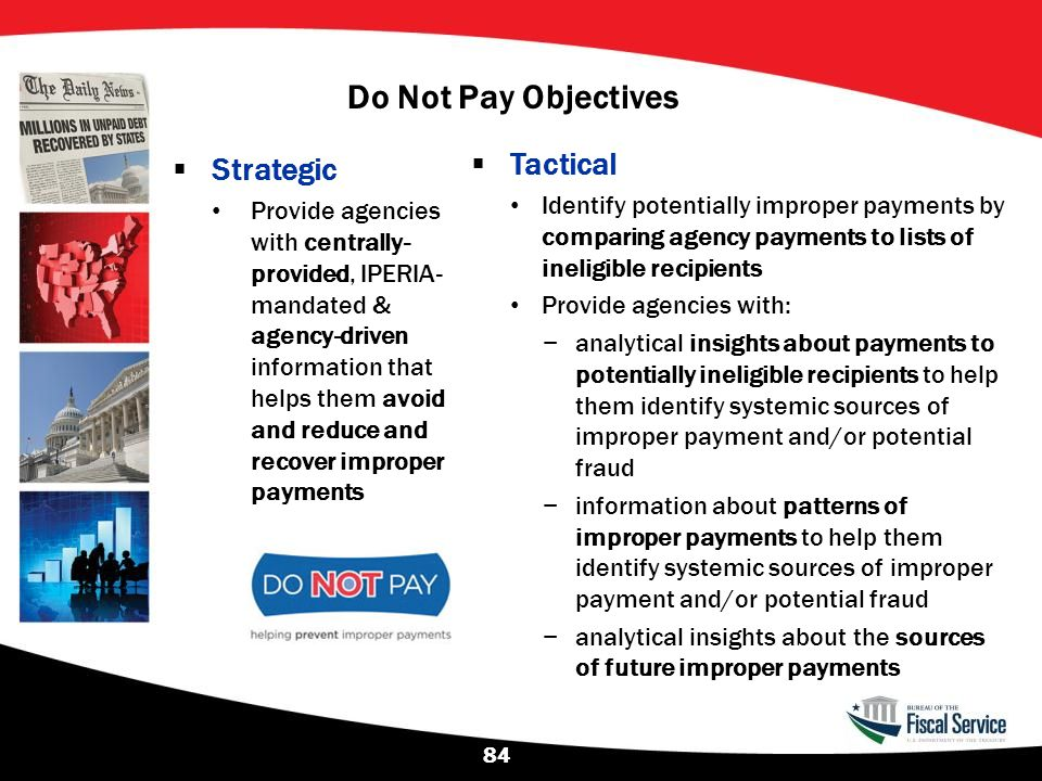 Do Not Pay Objectives Tactical Strategic