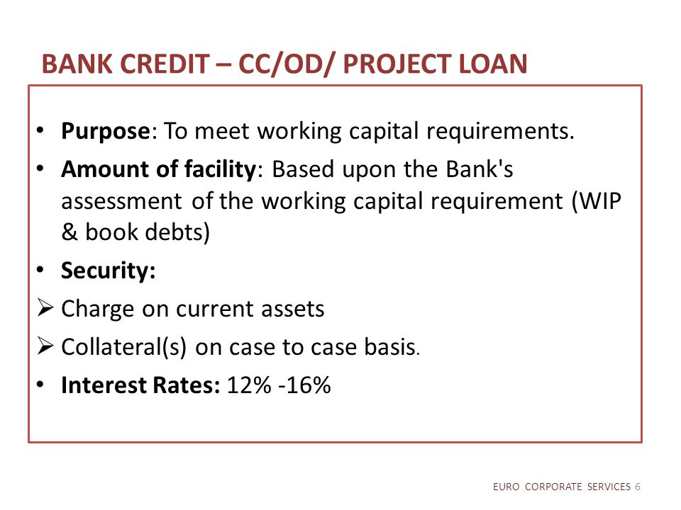 BANK CREDIT – CC/OD/ PROJECT LOAN